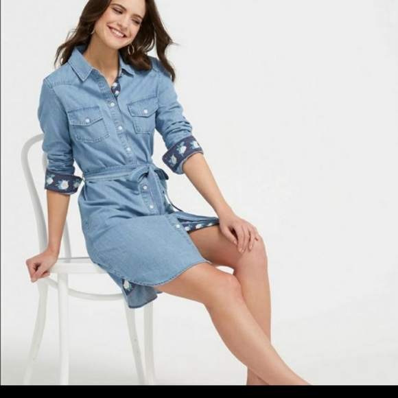 Draper James Dresses & Skirts - Draper James Belted Chambray Shirtdress Size 2-4-6